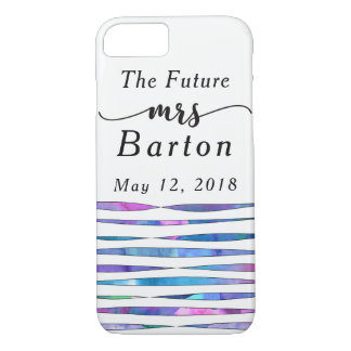 """The Future Mrs"" Typography Watercolor Streamers 2 iPhone 8/7 Case"