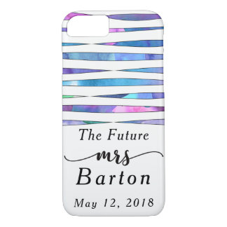 """""""The Future Mrs"""" Typography Watercolor Streamers iPhone 8/7 Case"""