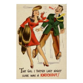 The Gal was a Knockout! Vintage Print