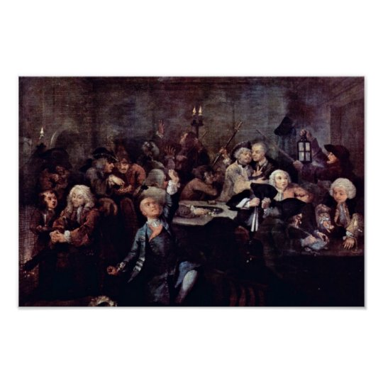 "The Gambling Den "" By Hogarth William Poster"