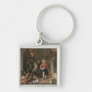 The Game Larder (panel) Silver-Colored Square Key Ring