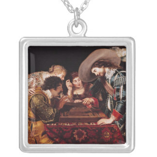 The Game of Backgammon Silver Plated Necklace