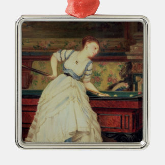 The Game of Billiards, 19th century Christmas Ornament