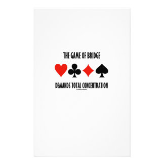 The Game Of Bridge Demands Total Concentration Customized Stationery