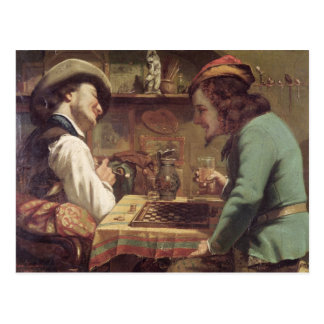 The Game of Draughts, 1844 Postcard