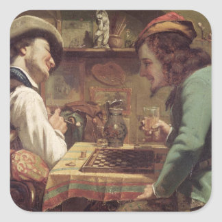 The Game of Draughts, 1844 Square Sticker