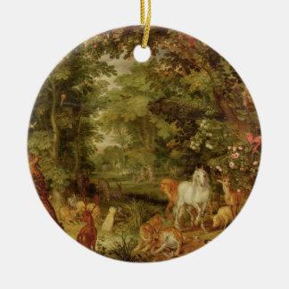 The Garden of Eden; in the background The Temptati Christmas Ornament