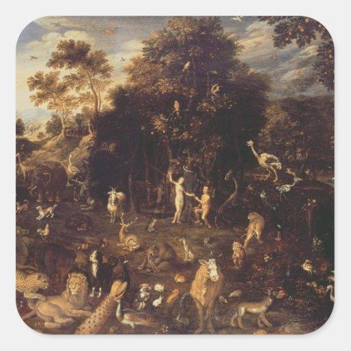 The Garden of Eden Square Stickers