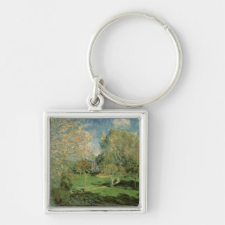 The Garden of Hoschede Family, 1881 Silver-Colored Square Key Ring