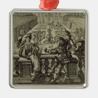 The garden of the French nobility, c.1640 (engravi Silver-Colored Square Decoration