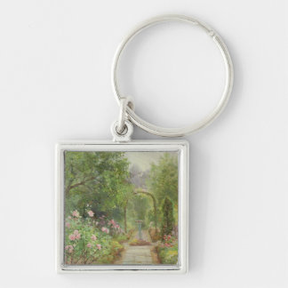 The Garden Path Silver-Colored Square Key Ring
