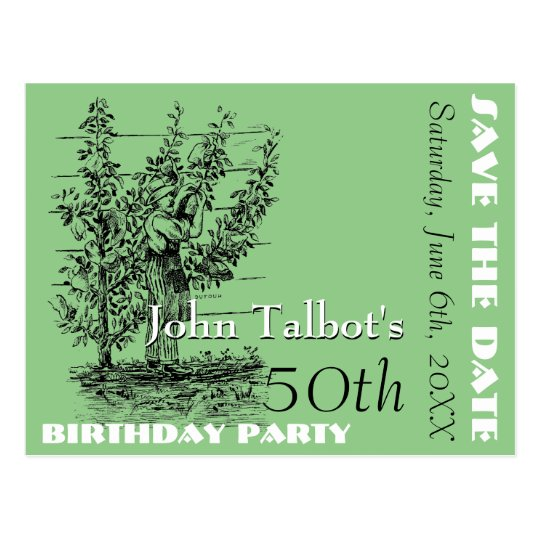 The gardener 50th birthday Party Save the Date