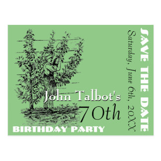 The gardener 70th birthday Party Save the Date Postcard