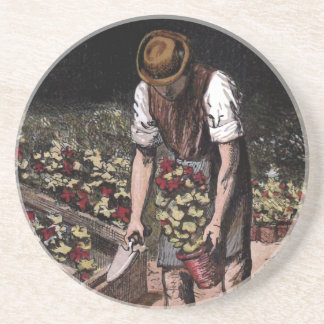 """The Gardener"" Vintage Illustration Coaster"