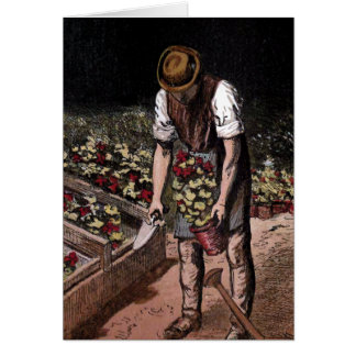"""The Gardener"" Vintage Illustration Greeting Card"