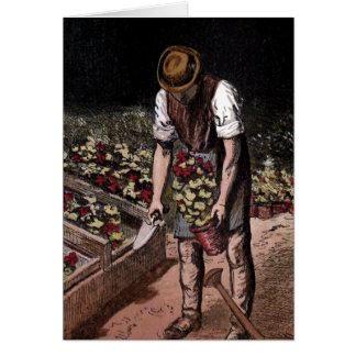 """The Gardener"" Vintage Illustration Greeting Card"
