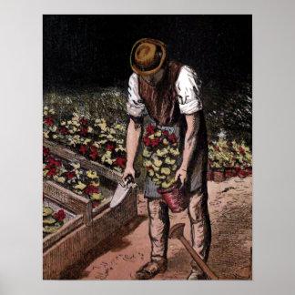 """The Gardener"" Vintage Illustration Poster"