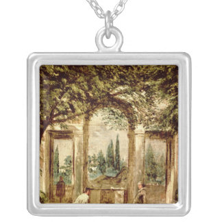 The Gardens of the Villa Medici in Rome Silver Plated Necklace