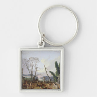 The Gardens of Versailles Silver-Colored Square Key Ring
