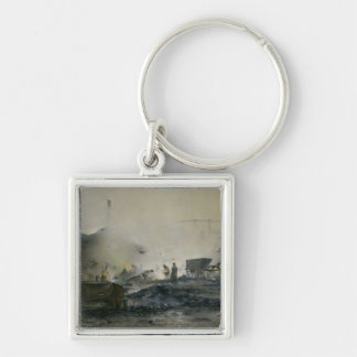 The Gas Factory at Courcelles, 1884 Silver-Colored Square Key Ring