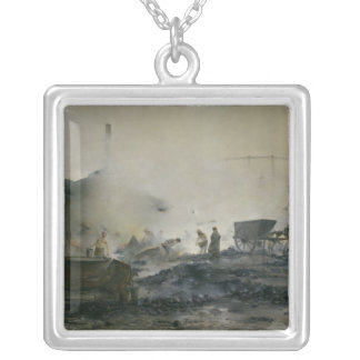 The Gas Factory at Courcelles, 1884 Silver Plated Necklace