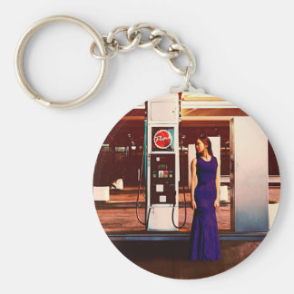 The Gas Station Basic Round Button Key Ring
