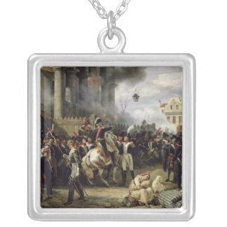 The Gate at Clichy during the Defence of Paris Silver Plated Necklace
