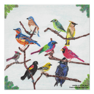The Gathering Colorful Songbirds Poster