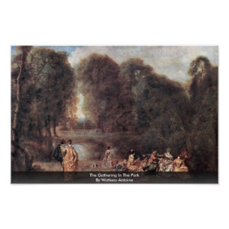 The Gathering In The Park By Watteau Antoine Posters