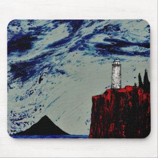 THE GATHERING STORM lighthouse design Mousepad