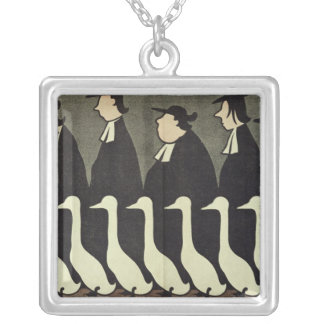 The Geese, anti-clerical Silver Plated Necklace