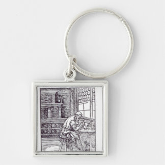The Gem Engraver, published by Hartman Schopper Silver-Colored Square Key Ring