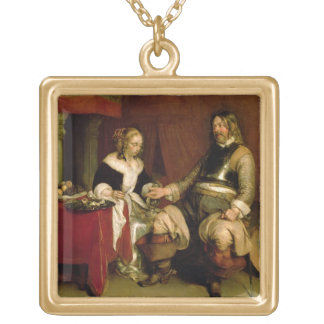 The Gentleman Soldier (oil on canvas) Gold Plated Necklace