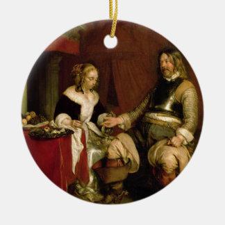 The Gentleman Soldier (oil on canvas) Round Ceramic Decoration