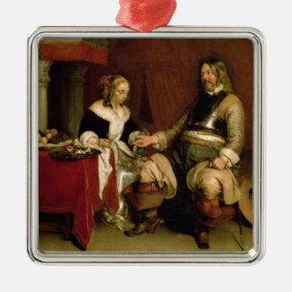 The Gentleman Soldier (oil on canvas) Silver-Colored Square Decoration