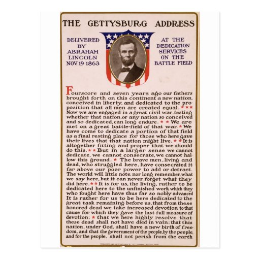 The Gettysburg Address by Abraham Lincoln 1863 Post Card