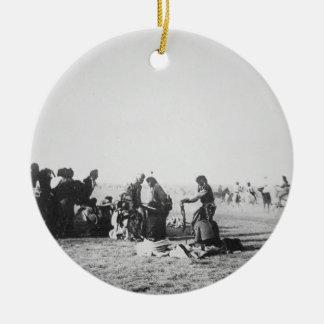 The Ghost Dance, South Dakota, 1890 (b/w photo) Round Ceramic Decoration