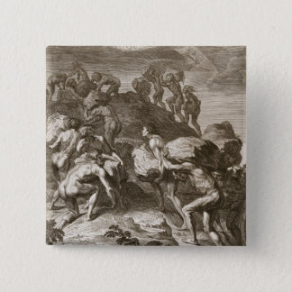 The Giants Attempt to Scale Heaven by Piling Mount 15 Cm Square Badge
