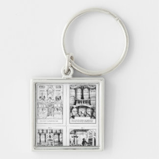 The Gin Shop Silver-Colored Square Key Ring