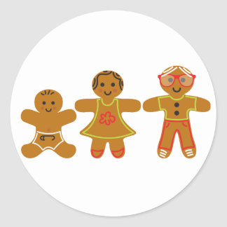 The Gingerbread Family Classic Round Sticker