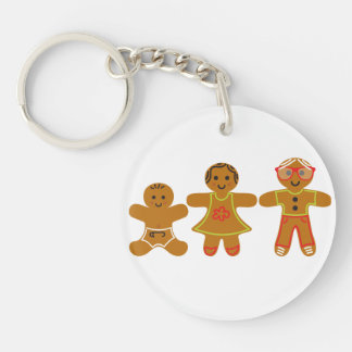 The Gingerbread Family Single-Sided Round Acrylic Key Ring