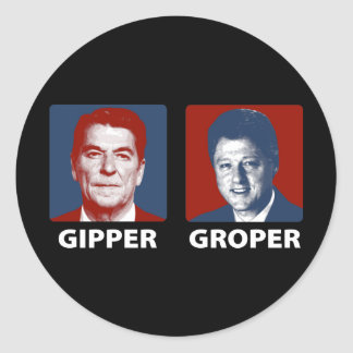 The Gipper and The Groper Round Stickers