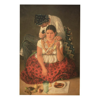 The Gipsy Boy and Girl, (oil on canvas) Wood Print
