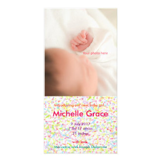 The girl and baby of Baby Girl Announcement, Customised Photo Card