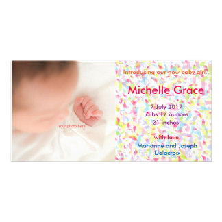 The girl and baby of Baby Girl Announcement, photo Customised Photo Card