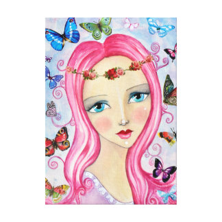 The Girl and the Butterflies Canvas
