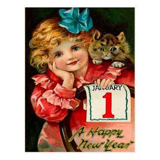 The Girl and the Cat - New Year Greeting Postcard