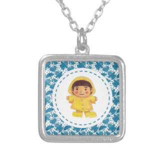 The Girl in the Rainy Season Square Pendant Necklace