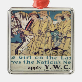 The Girl on the Land Serves the Nation's Need Silver-Colored Square Decoration