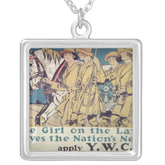 The Girl on the Land Serves the Nation's Need Silver Plated Necklace